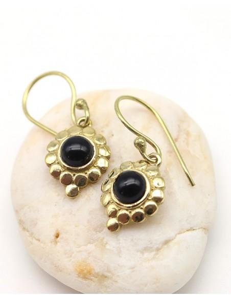 Boucles d'oreilles en laiton et onyx - Mosaik bijoux indiens