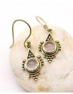 Boucles d'oreilles dorées en quartz rose - Mosaik bijoux indiens