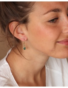 Boucles d'oreilles laiton et émeraude - Mosaik bijoux indiens 2