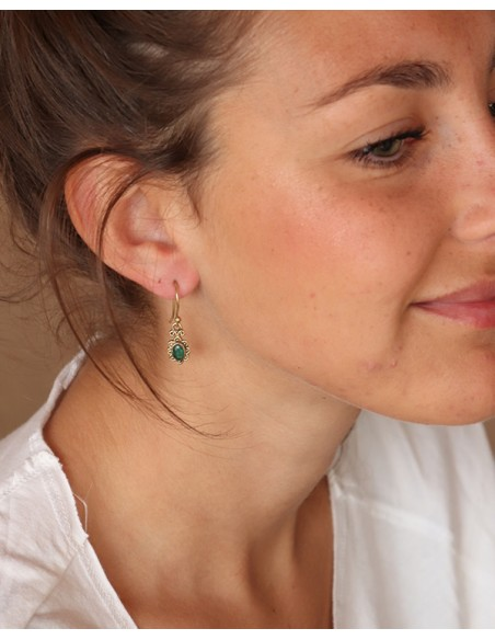Boucles d'oreilles laiton doré émeraude - Mosaik bijoux indiens
