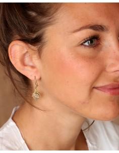 Boucles d'oreilles dorées en quartz rose - Mosaik bijoux indiens 2