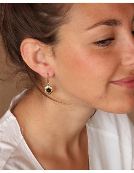 Petite boucles d'oreilles dorées et onyx - Mosaik bijoux indiens