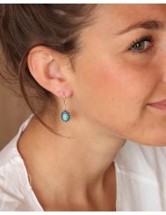 Boucles d'oreilles plaqué argent et turquoise - Mosaik bijoux indiens 2