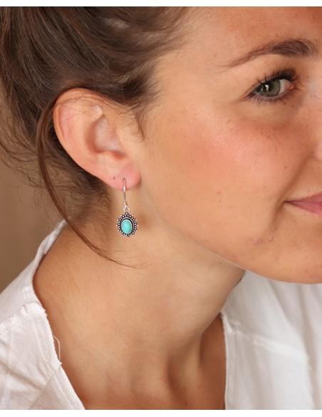 Boucles d'oreilles argentées et turquoise - Mosaik bijoux indiens