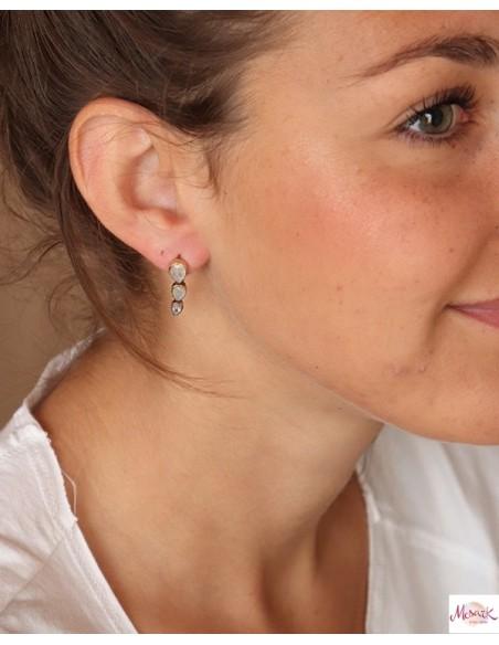 Boucles d'oreilles dorées et pierres de lune - Mosaik bijoux indiens