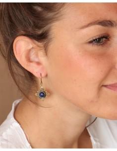 Boucles d'oreilles ethniques dorées et lapis lazuli - Mosaik bijoux indiens 2