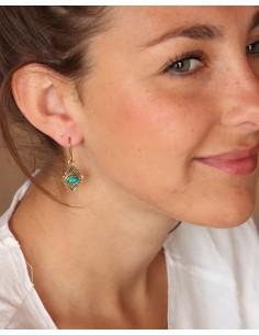 Boucles d'oreilles laiton ethniques et turquoise - Mosaik bijoux indiens 2