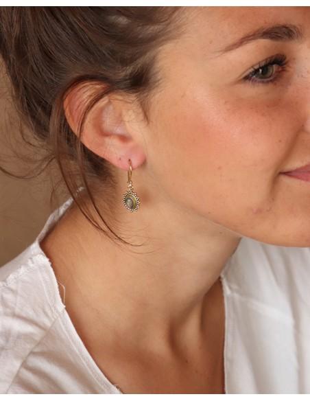 Boucles d'oreilles pendantes dorées et labradorite - Mosaik bijoux indiens