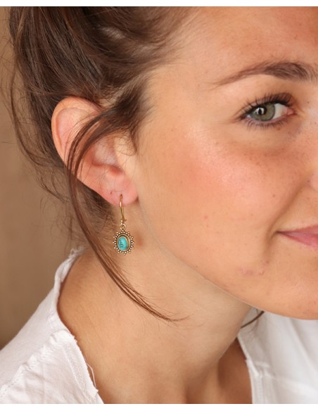 Petites boucles d'oreilles dorées et turquoise - Mosaik bijoux indiens