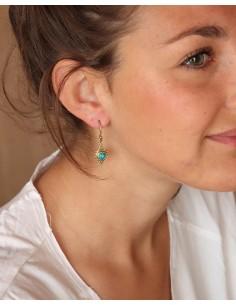 Boucles d'oreilles travaillées dorées et turquoise - Mosaik bijoux indiens 2