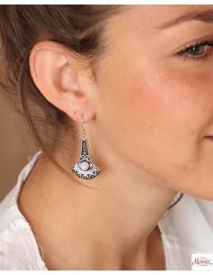 Boucles d'oreilles argentées et pierre de lune - Mosaik bijoux indiens 2