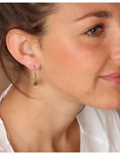 Boucles d'oreilles laiton et améthyste ronde - Mosaik bijoux indiens 2