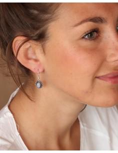 Boucles d'oreilles plaqué argent et pierre de lune - Mosaik bijoux indiens 2