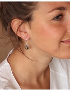 Boucles d'oreilles plaqué argent et oeil de tigre - Mosaik bijoux indiens 2