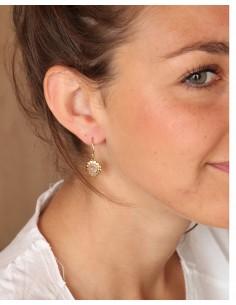 Boucles d'oreilles dorées et quartz rose - Mosaik bijoux indiens 2