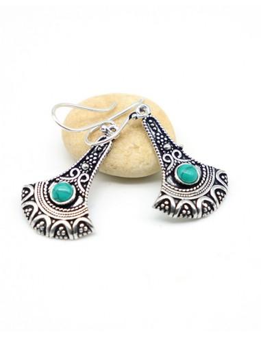 Boucles d'oreilles plaqué argent et turquoise ronde - Mosaik bijoux indiens