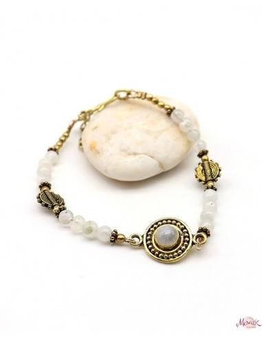 Bracelet ethnique doré et pierre de lune - Mosaik bijoux indiens
