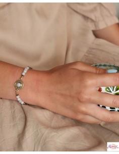 Bracelet ethnique doré et pierre de lune - Mosaik bijoux indiens 2