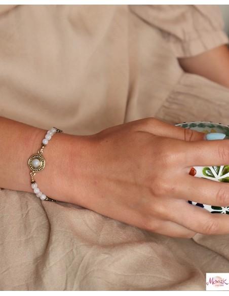 Bracelet laiton et perles pierres de lune - Mosaik bijoux indiens