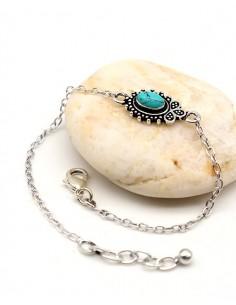 Bracelet ethnique argenté fin et turquoise - Mosaik bijoux indiens