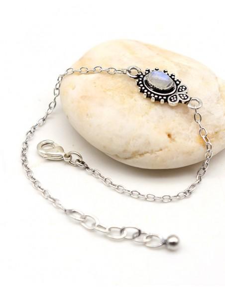Bracelet ethnique plaqué argent et pierre de lune - Mosaik bijoux indiens