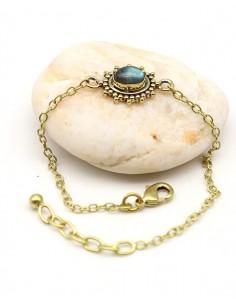 Bracelet ethnique laiton et labradorite - Mosaik bijoux indiens