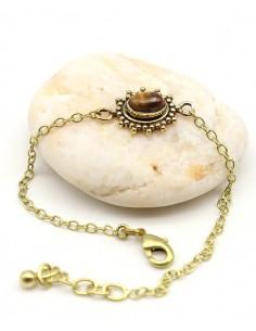 Bracelet fin doré et oeil de tigre - Mosaik bijoux indiens