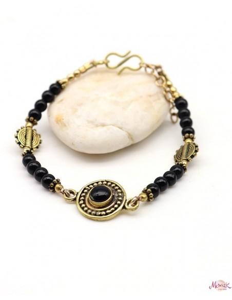 Bracelet ethniques doré et onyx - Mosaik bijoux indiens