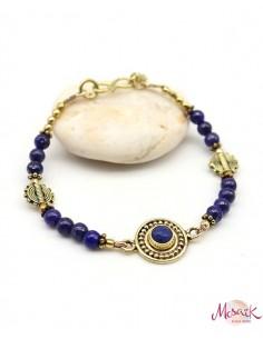 Bracelet ethnique doré et lapis lazuli - Mosaik bijoux indiens