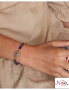 Bracelet ethnique doré et lapis lazuli - Mosaik bijoux indiens 2