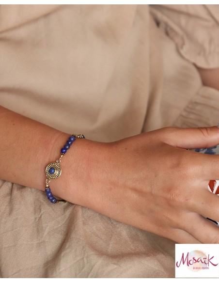 Bracelet laiton et lapis lazuli - Mosaik bijoux indiens
