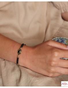 Bracelet ethniques doré et onyx - Mosaik bijoux indiens 2