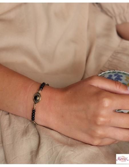 Bracelet onyx noir et laiton - Mosaik bijoux indiens