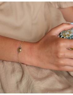 Bracelet fin doré et oeil de tigre - Mosaik bijoux indiens 2