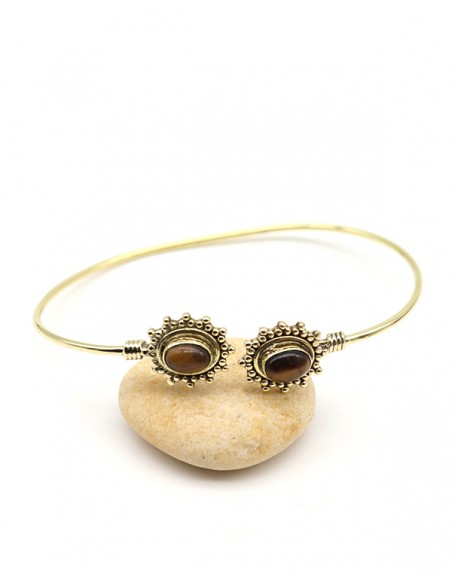 Bracelet doré et oeil de tigre réglable - Mosaik bijoux indiens