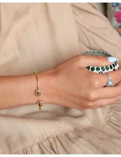 Bracelet doré et oeil de tigre réglable - Mosaik bijoux indiens 2