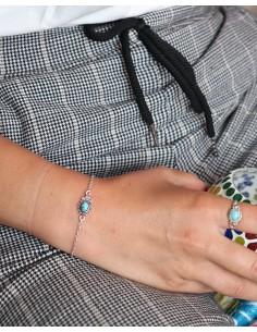 Bracelet ethnique argenté fin et turquoise - Mosaik bijoux indiens 2