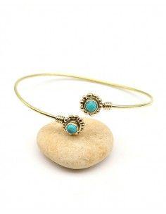 Demi jonc doré ajustable et turquoise - Mosaik bijoux indiens