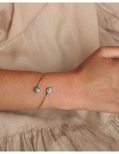 Demi jonc doré ajustable et turquoise - Mosaik bijoux indiens 2