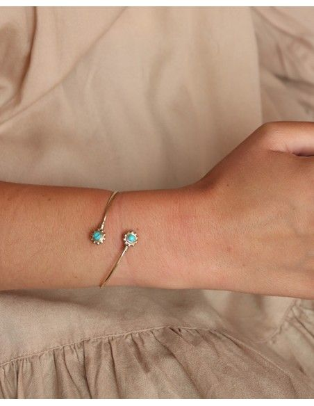 Bracelet fin doré réglable et turquoise - Mosaik bijoux indiens