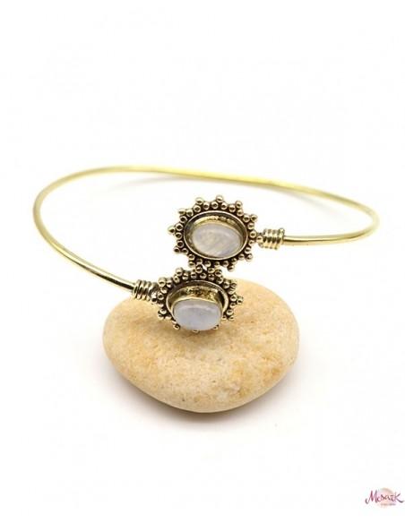 Bracelet fin doré et pierres de lune - Mosaik bijoux indiens