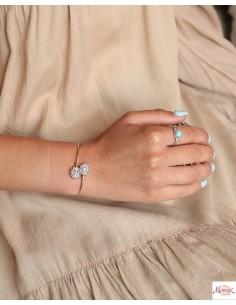 Bracelet fin doré et pierres de lune - Mosaik bijoux indiens 2