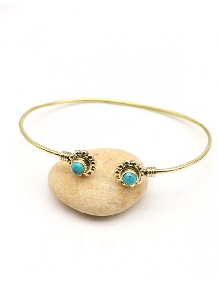 Bracelet fin doré et turquoise - Mosaik bijoux indiens