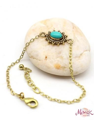Bracelet doré fin et turquoise - Mosaik bijoux indiens
