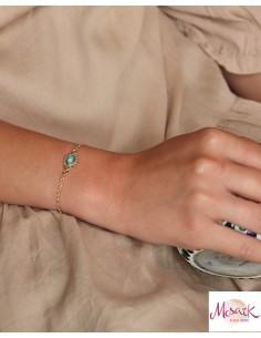 Bracelet doré fin et turquoise - Mosaik bijoux indiens 2