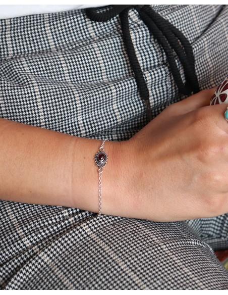 Bracelet fin argenté et grenat - Mosaik bijoux indiens