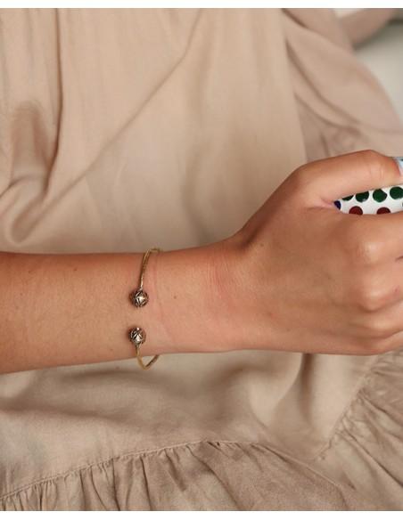 Bracelet fin ethnique doré - Mosaik bijoux indiens