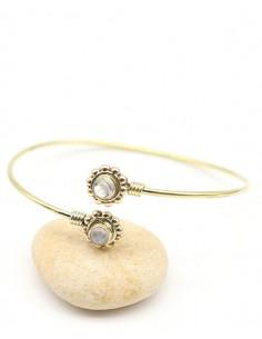 Bracelet réglable doré et pierre de lune - Mosaik bijoux indiens