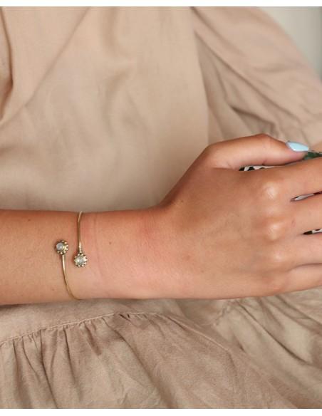 Bracelet fin doré et pierre de lune - Mosaik bijoux indiens