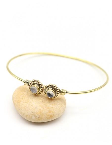 Demi jonc doré et pierre de lune - Mosaik bijoux indiens
